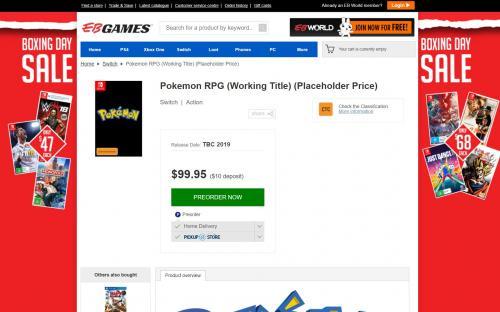 Pokemon RPG Game для Switch будет стоить 100 $