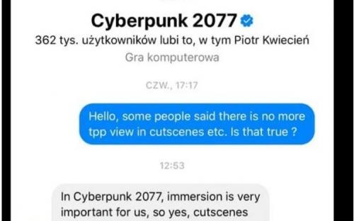 Видеовставки в Cyberpunk 2077 будут только с видом от первого лица
