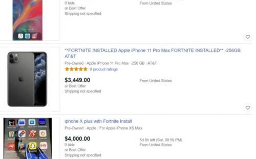 Айфоны с установленным Fortnite продаются за огромные суммы