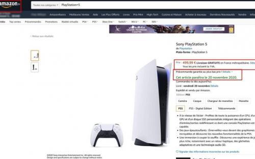 Amazon Франция: PS 5 за 500 и 400 евро. Старт продаж – 20-го ноября